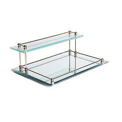 Beveled Glass 2-Tier Valet Tray
