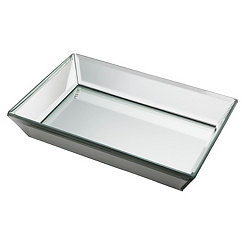 Beveled Glass Mirrored Vanity Tray