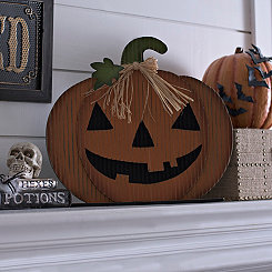 Jack O' Lantern Standing Wooden Plaque
