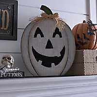 White Jack O' Lantern Wooden Plaque