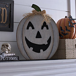 White Jack O' Lantern Wooden Plaque
