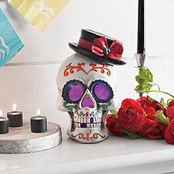LED Day of the Dead Top Hat Sugar Skull