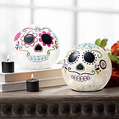 Pre-Lit Sugar Skull Orbs, Set of 2