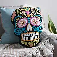 Day of the Dead Sugar Skull Pillow