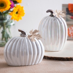 Small Ceramic Cream Pumpkins, Set of 2