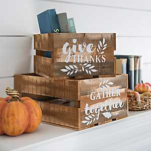 Harvest Wooden Crates, Set of 2