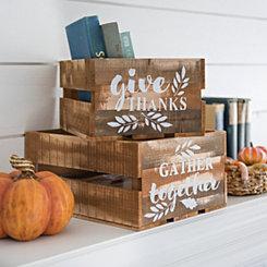 Harvest Wooden Crates, Set of 2