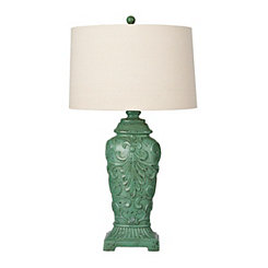 Weathered Turquoise Spring Scroll Table Lamp