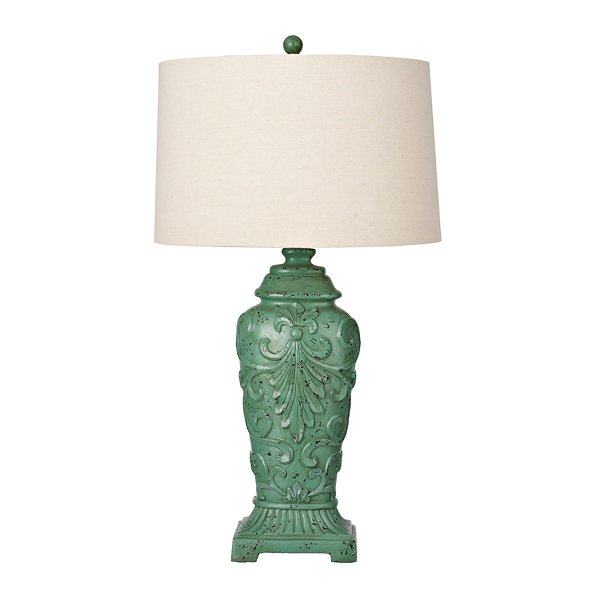 ... Weathered Turquoise Spring Scroll Table Lamp ...