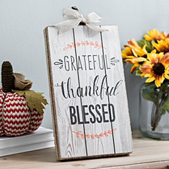 Grateful Thankful Blessed Pumpkin Wood Box Sign