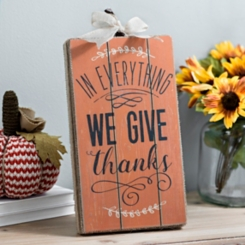 We Give Thanks Pumpkin Wood Box Sign