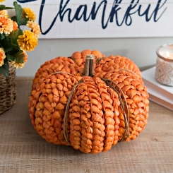 Natural Woven Orange Pumpkin