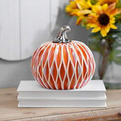 Geometric Orange Ceramic Pumpkin