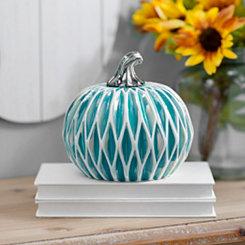 Geometric Turquoise Ceramic Pumpkin