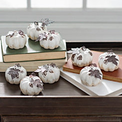 Cream Mini Drip Pumpkins, Set of 9