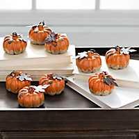 Orange Mini Drip Pumpkins, Set of 9