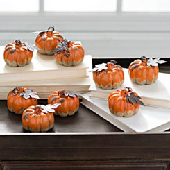 Orange Mini Drip Pumpkins, Set of 9
