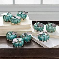 Turquoise Mini Drip Pumpkins, Set of 9