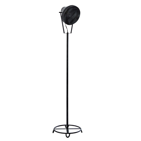 black metal spotlight floor lamp