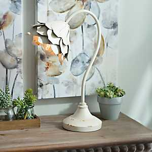 Distressed White Metal Flower Table Lamp