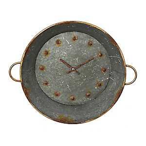 Tin Metal Wall Clock with Handles