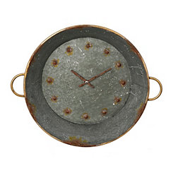 Tin Metal Wall Clock with Handles