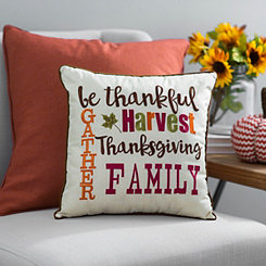 Harvest Thanksgiving Words Pillow