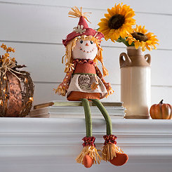 Harvest Scarecrow Girl Shelf Sitter