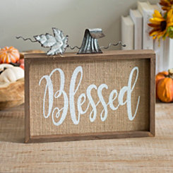 Blessed Burlap Pumpkin Word Block