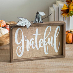 Grateful Burlap Pumpkin Word Block