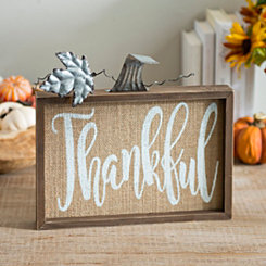 Thankful Burlap Pumpkin Word Block
