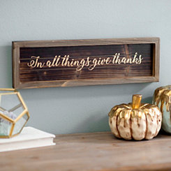 Give Thanks Metallic Wood Word Block