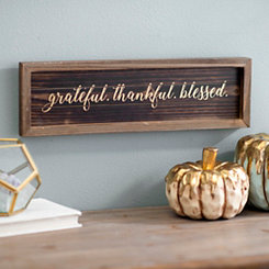 Grateful Thankful Blessed Metallic Wood Word Block