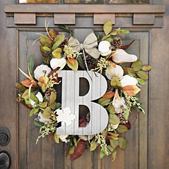 Fall Leaf Monogram B Wall Plaque