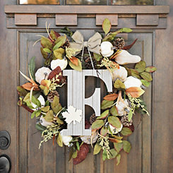 Fall Leaf Monogram F Wall Plaque