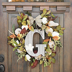 Fall Leaf Monogram G Wall Plaque