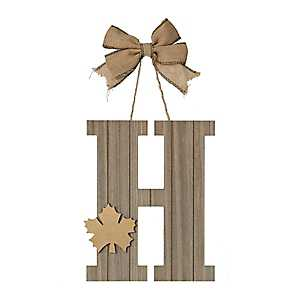 Fall Leaf Monogram H Wall Plaque