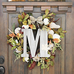 Fall Leaf Monogram M Wall Plaque