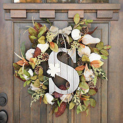 Fall Leaf Monogram S Wall Plaque