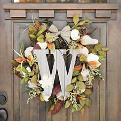 Fall Leaf Monogram W Wall Plaque