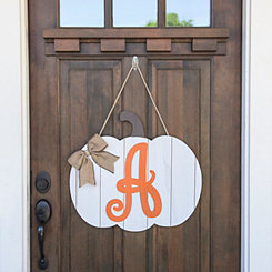 Barnwood Monogram A Pumpkin Wooden Plaque