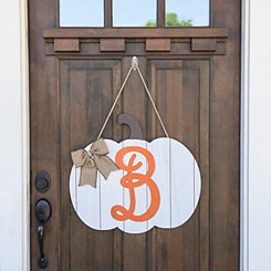 Barnwood Monogram B Pumpkin Wooden Plaque