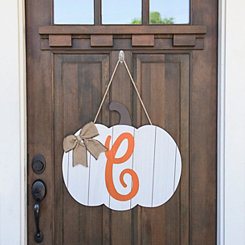 Barnwood Monogram C Pumpkin Wooden Plaque