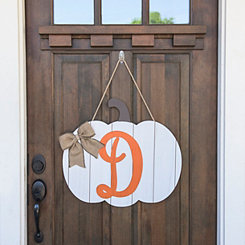 Barnwood Monogram D Pumpkin Wooden Plaque