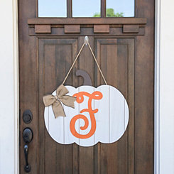 Barnwood Monogram F Pumpkin Wooden Plaque