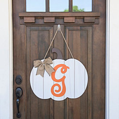 Barnwood Monogram G Pumpkin Wooden Plaque