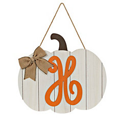 Barnwood Monogram H Pumpkin Wooden Plaque