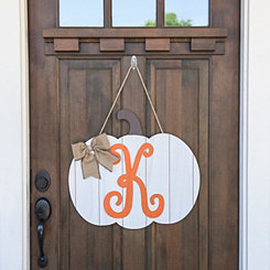 Barnwood Monogram K Pumpkin Wooden Plaque