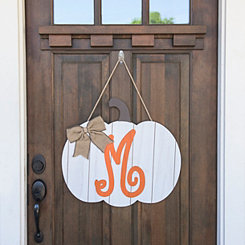 Barnwood Monogram M Pumpkin Wooden Plaque