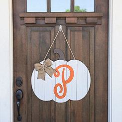 Barnwood Monogram P Pumpkin Wooden Plaque